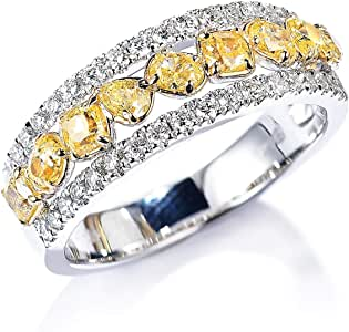 Gnzoe Jewlery Gift - Women 18K White Gold Anniversary Promise Ring, Three Rows Gems Diamond Rings for Womens