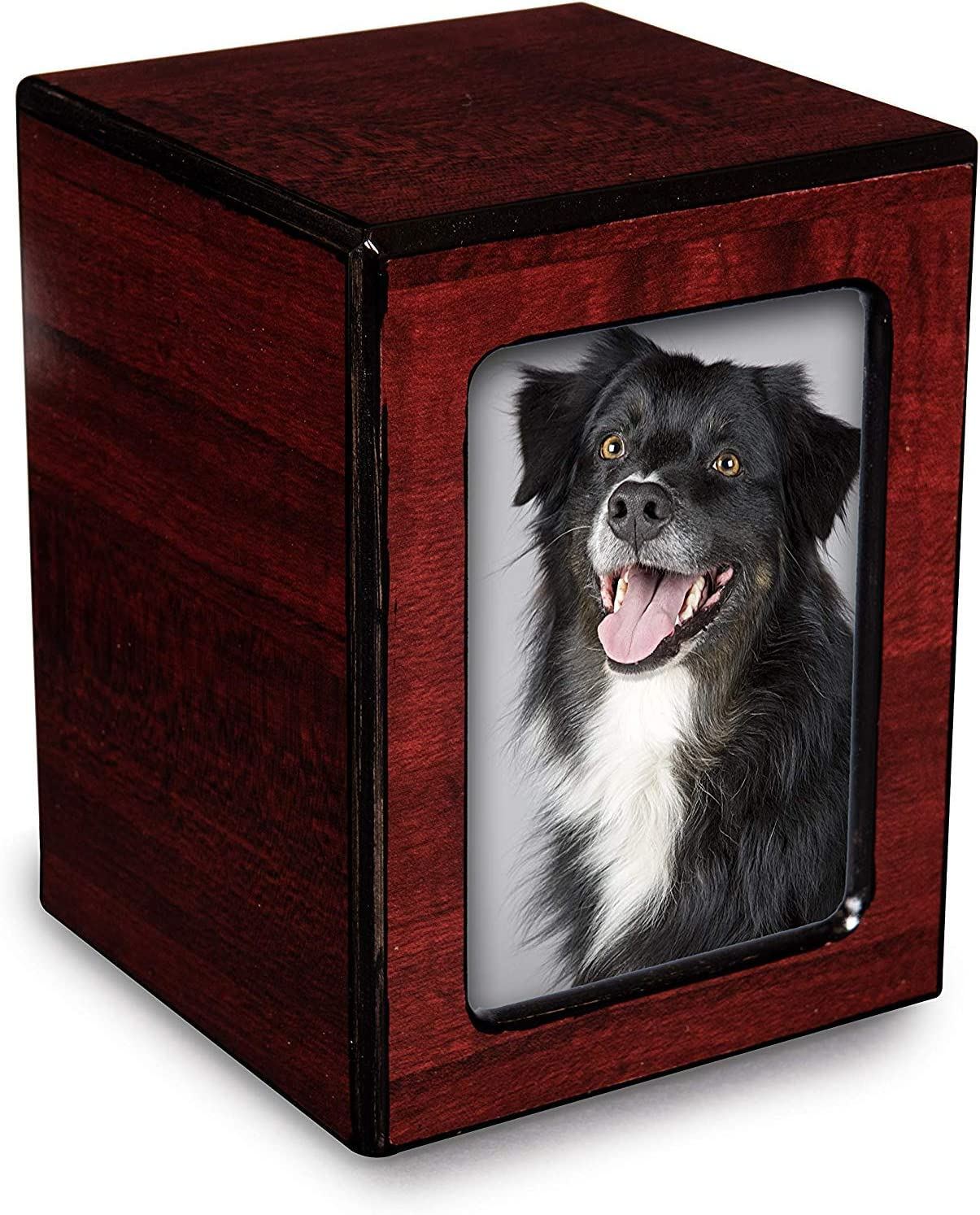 Chateau Urns - Society Collection - Photo Keepsake Cremation Urn - Memorial Box for Ashes - Small (up to 46 lbs) - Cherry Finish