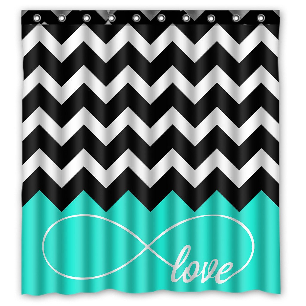 KXMDXA Custom Infinity Live The Life You Love,Love The Life You Live Chevron Turquoise Black White Waterproof Fabric Bathroom Shower Curtain with Hooks, decor 66 x 72 inches