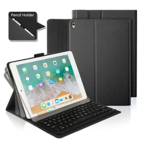 Feelkaus iPad 10.5 case Keyboard Case, Adjustable Angle Viewing Stand Smart Cover Case with Detachable