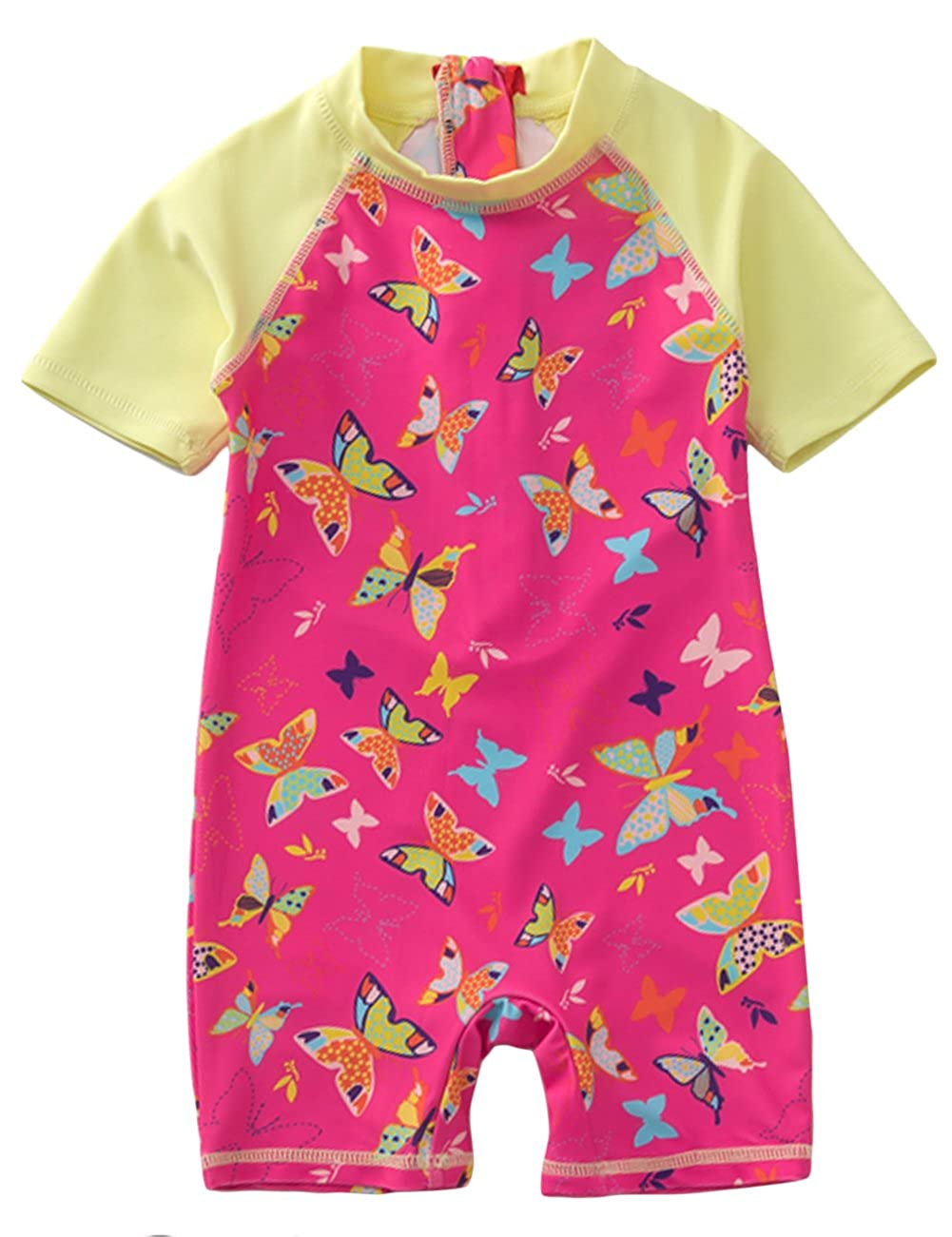 Aulase Baby Girls One Piece Swimsuits Toddler Butterfly Print Rash Guard Sunsuit