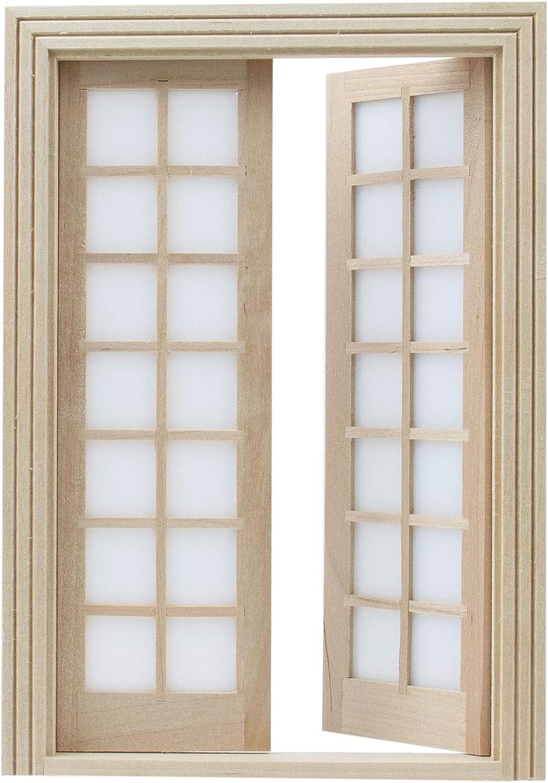 AUEAR, 1:12 Dollhouse Miniature Furniture Unpaint Wooden Doors for DIY Scene Doll Home Furniture Craft (28 Panel)