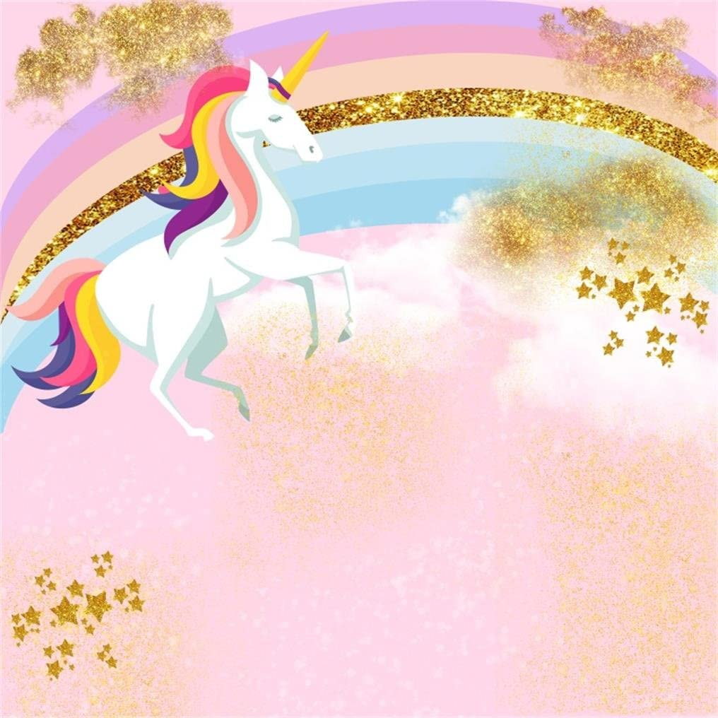 AOFOTO 10x10ft Smile Unicorn Photography Backdrop Abstract Rainbow Sweet Stars Birthday Party Decor Background Baby Shower Banner Photo Studio Props Infant Kid Newborn Child Girl Portrait Wallpaper