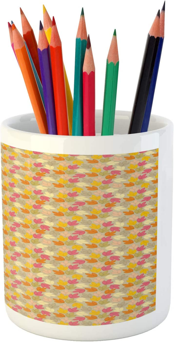 Repetitive Pattern of Autumn Nature Themed Soft Leaves 3.6 X 3.2 Ambesonne Orange and Yellow Pencil Pen Holder Ceramic Pencil Holder for Desk Office Accessory Multicolor
