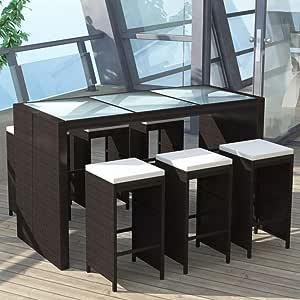 Tidyard Conjunto de Bar 13 Piezas con Cojines,Mesa y 6 Taburete de Bar para Jardín Terraza o Balcón,Estructura de Acero,Poli Ratan Marrón: Amazon.es: Hogar