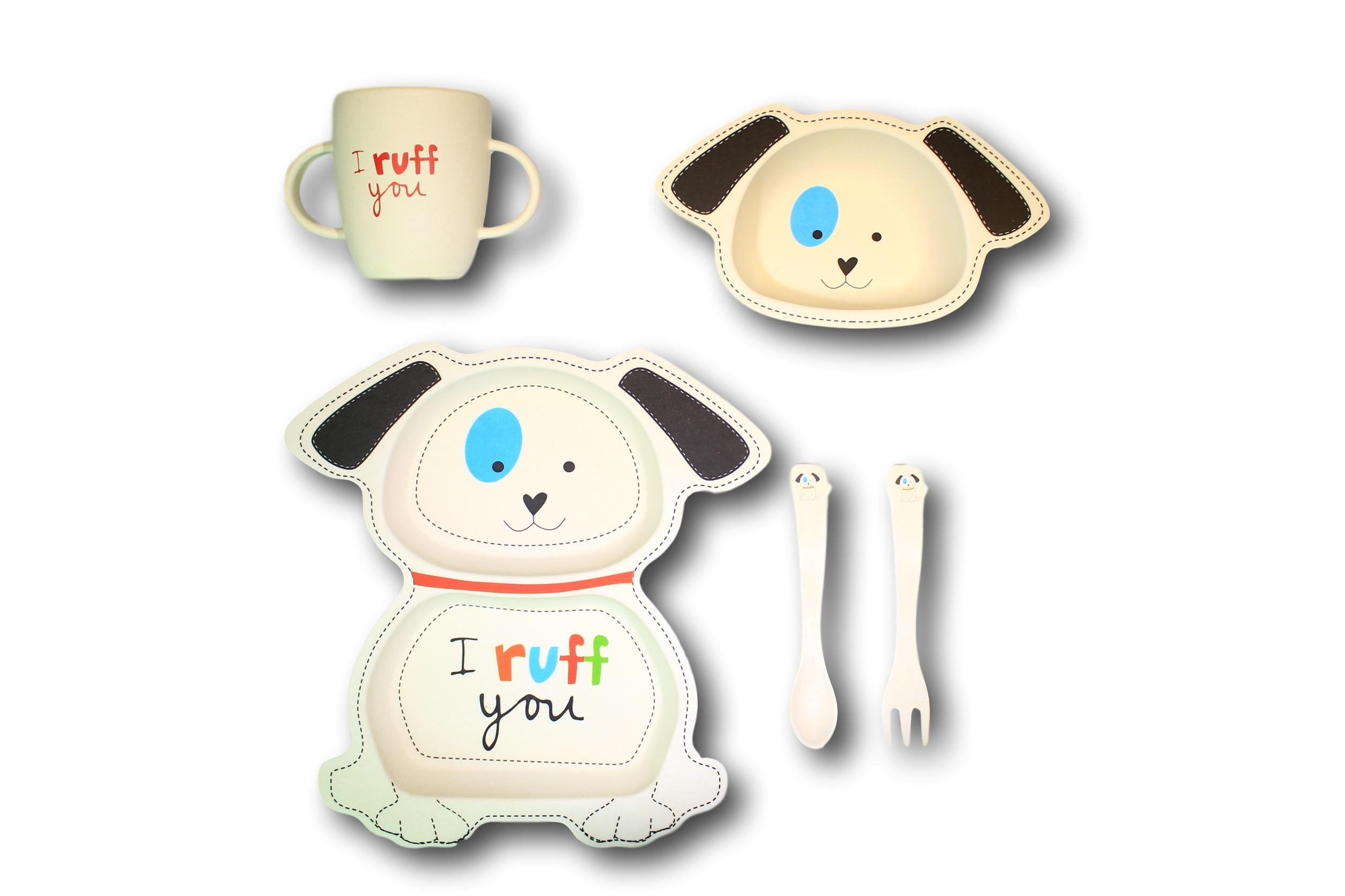 Tiny Footprint Bingo Dog 5-piece Bamboo Dinner Set by Tiny Footprint