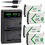 Kastar 4-Pack NP-BX1 Battery and LTD2 USB Charger Replacement for Sony NP-BX1, Type X, X-Series Rechargeable Battery…