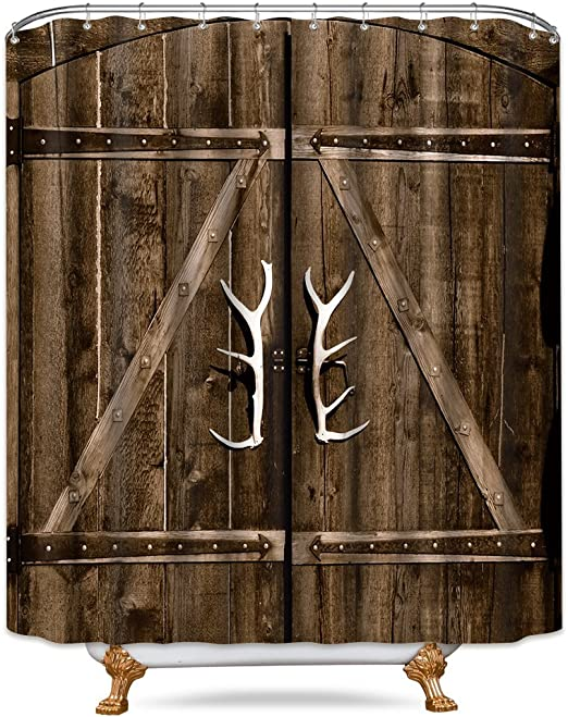 Amazon Com Riyidecor Wooden Garage Barn Door Shower Curtain 72x84