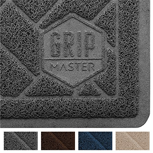 """GRIP MASTER Premium Cat Litter Trapping Mats, Phthalate Free, Best Scatter Control, Jumbo XL Sizes, Mat Traps Litter, Easy to Clean, Soft on Kitty Paws (Graphite: 35"""" x 23"""")"""