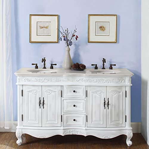 Silkroad Exclusive Crema Marfil Marble Double Sink Bathroom Vanity