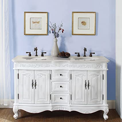 silkroad exclusive crema marfil marble double sink bathroom vanity with cabinet 58 inch - Double Sink Bathroom Vanities