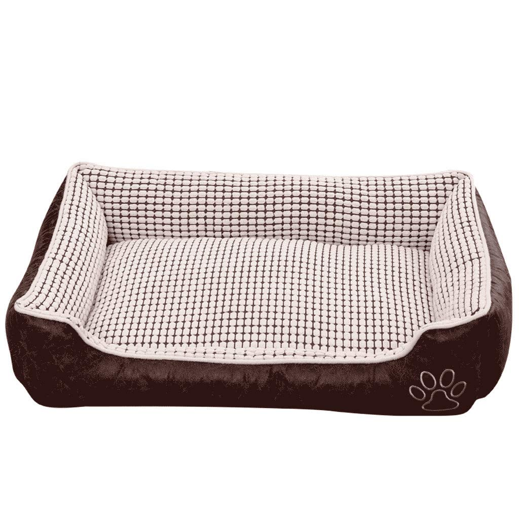 50CM FJH Kennel Removable And Washable Winter Teddy Pet Mat Small Medium Large Dog golden Retriever Dog House Dog Bed Winter Warm (Size   50CM)