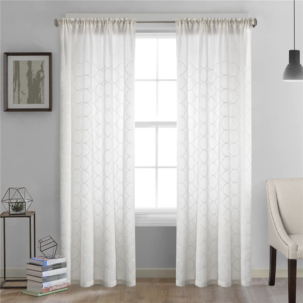Dreaming Casa White Oval Pattern Window Sheer Curtains for Living Room Rod Pocket Curtain Drapes for Bedroom 100 W x 102 L Set of 2 Panels