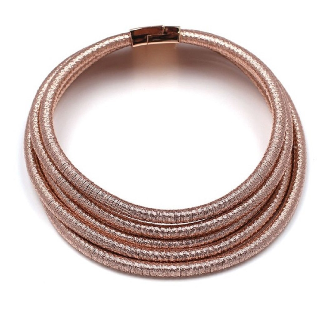 Stylish Celebrity Style Multi Layered Coil Rope Gold Black Choker Necklace (Rose Gold)