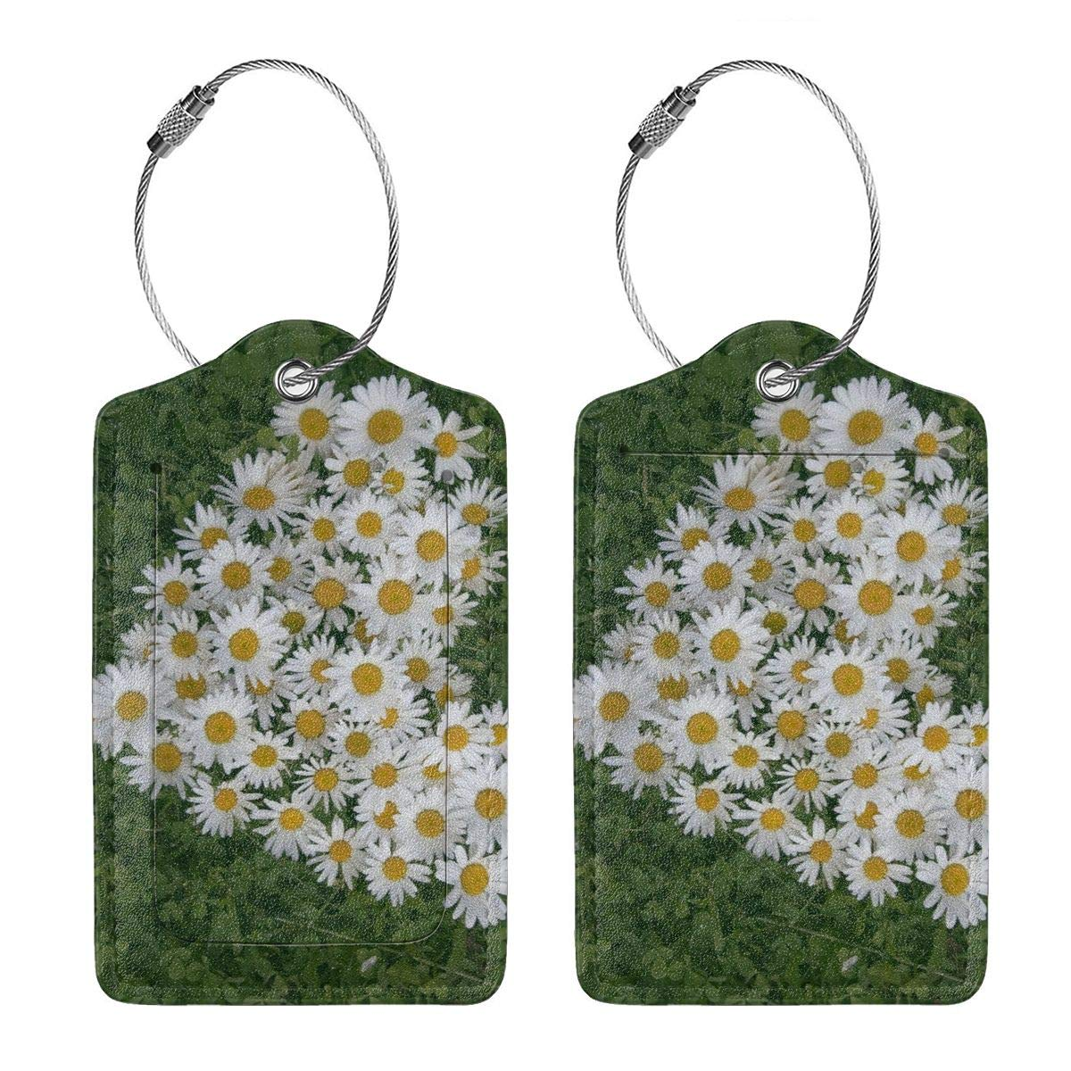 Daisy Flower Travel Luggage Tags With Full Privacy Cover Leather Case And Stainless Steel Loop