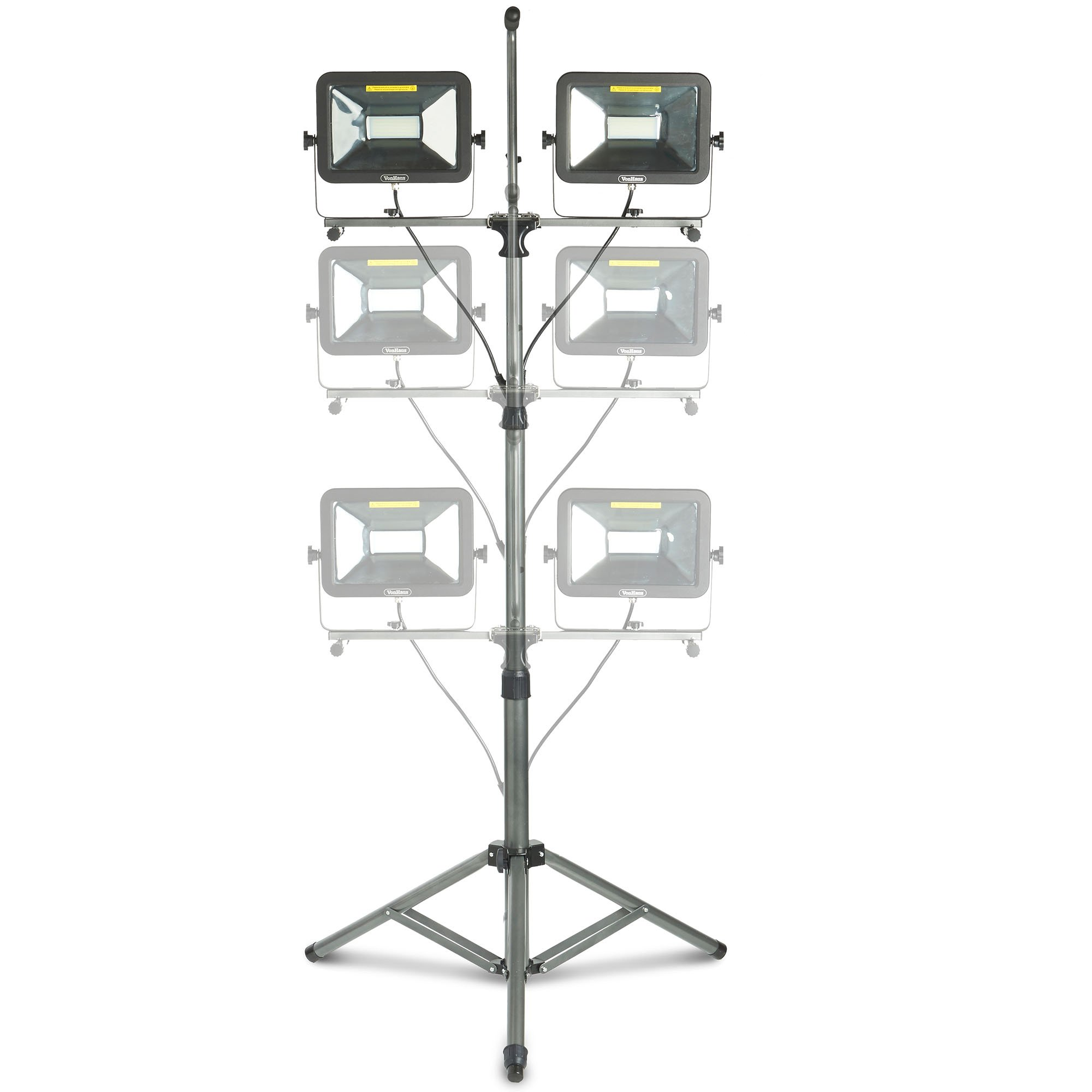 VonHaus Two-Head 10000 Lumen LED Work Light with Detachable Metal Lamp Housing, Metal Telescopic Tripod Stand, Rotating Waterproof Lamps and 8.2Ft Power Cord by VonHaus (Image #3)