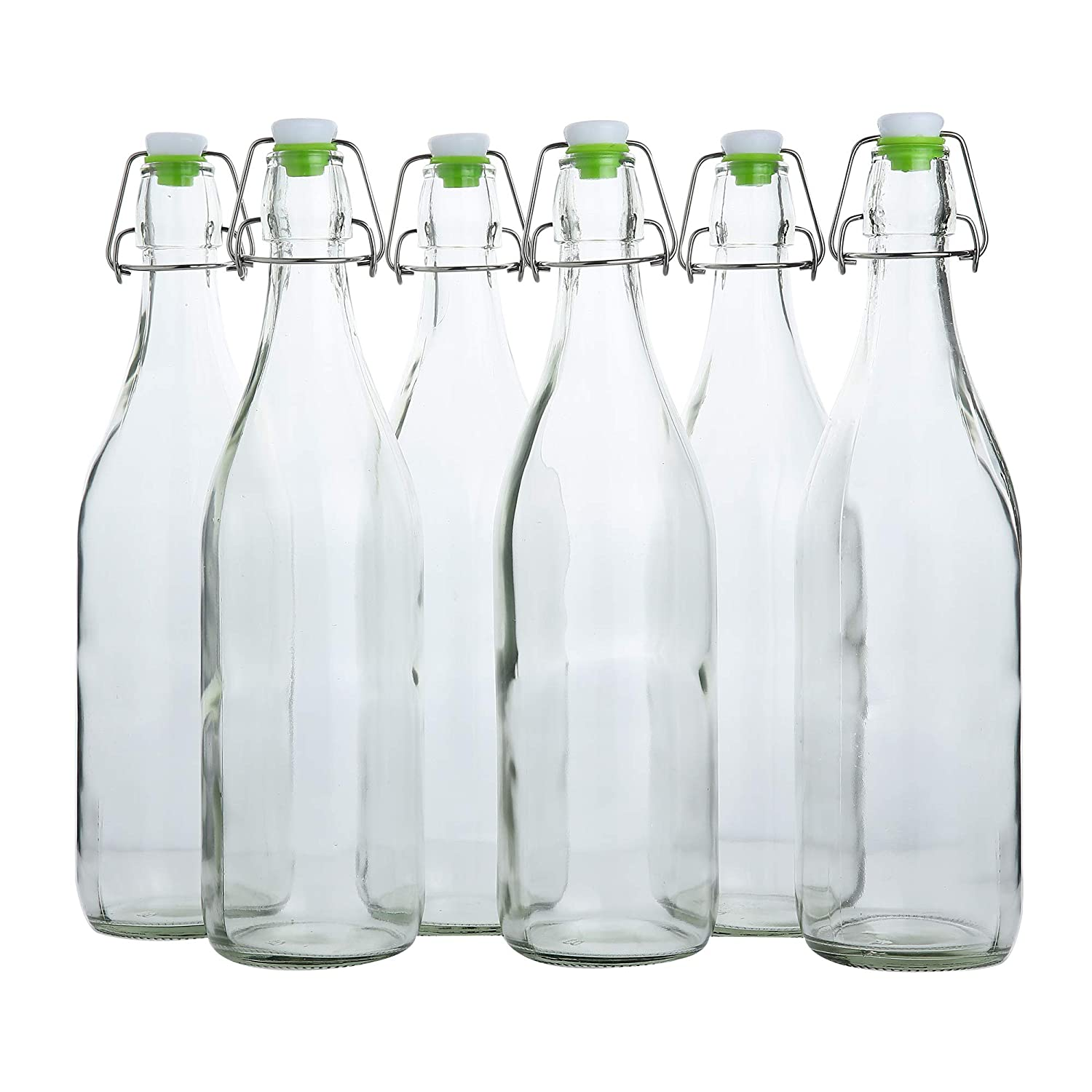 Set of 6 flip top glass bottles