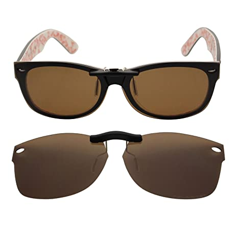 dfa7357f595 Custom Polarized Clip On Sunglasses for Ray-Ban RB5184 (54mm) 54-18-145 ( Brown) - - Amazon.com