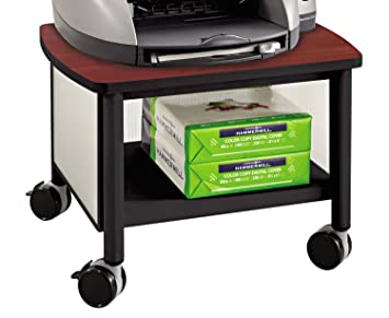 Safco Products 1862BL Impromptu Under Table Printer Machine Stand, Cherry/ Black