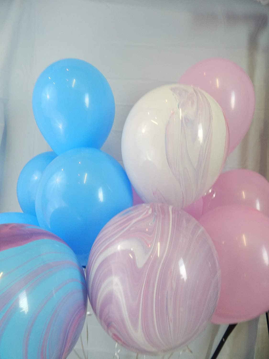 Pink and Purple Marbled Balloons Unicorn Party Paint Party Pink and Blue Balloons,Agate Blue Pink Purple Marble Decorations Multi Color Balloons Blue Marbled
