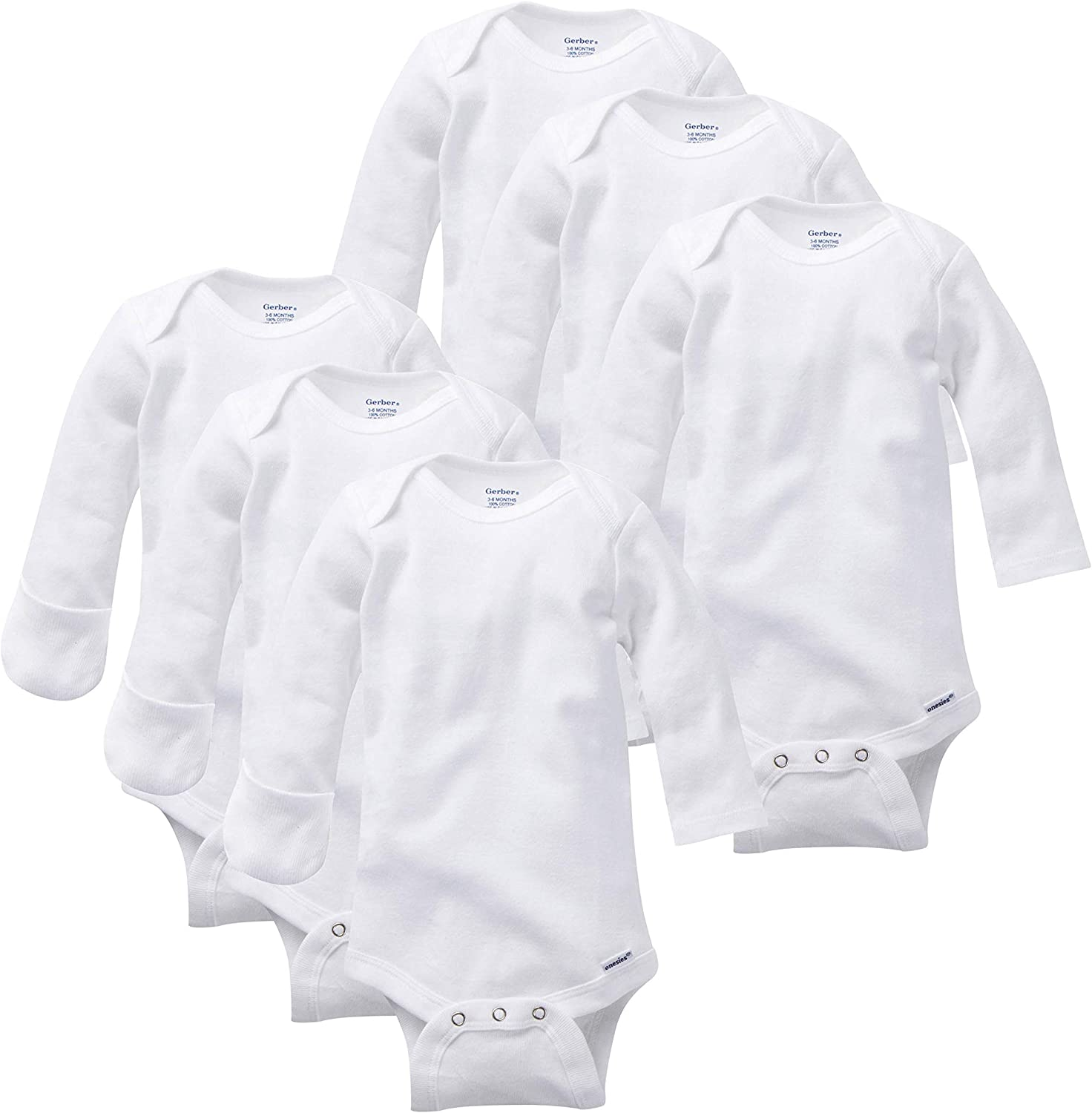 Amazon.com: GERBER Baby Girls' 6-Pack Long-Sleeve Mitten-Cuff ...