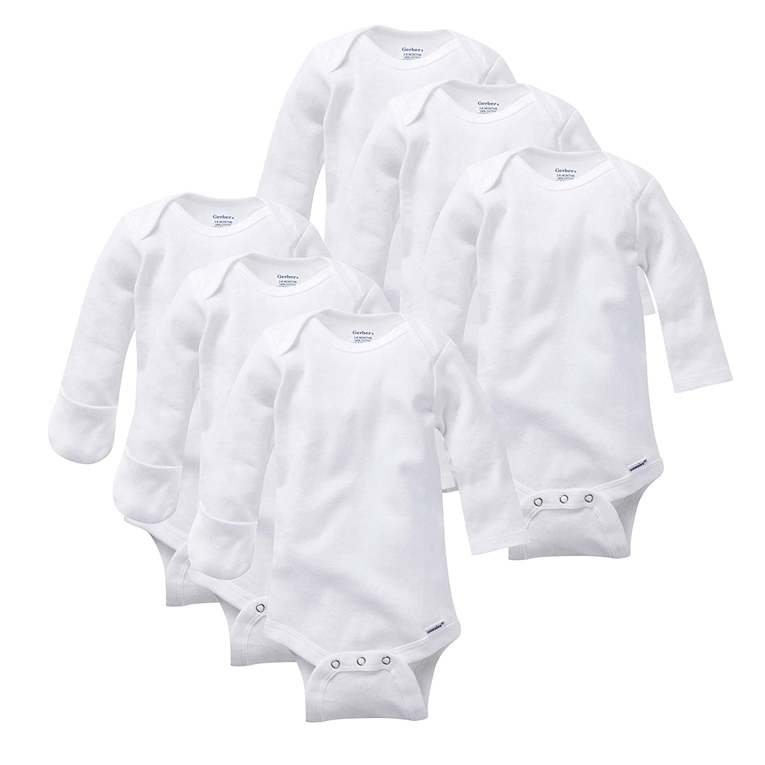 Gerber Baby Girls' 6-Pack Long-Sleeve Mitten-Cuff Onesies Bodysuit Gerber Children' s Apparel