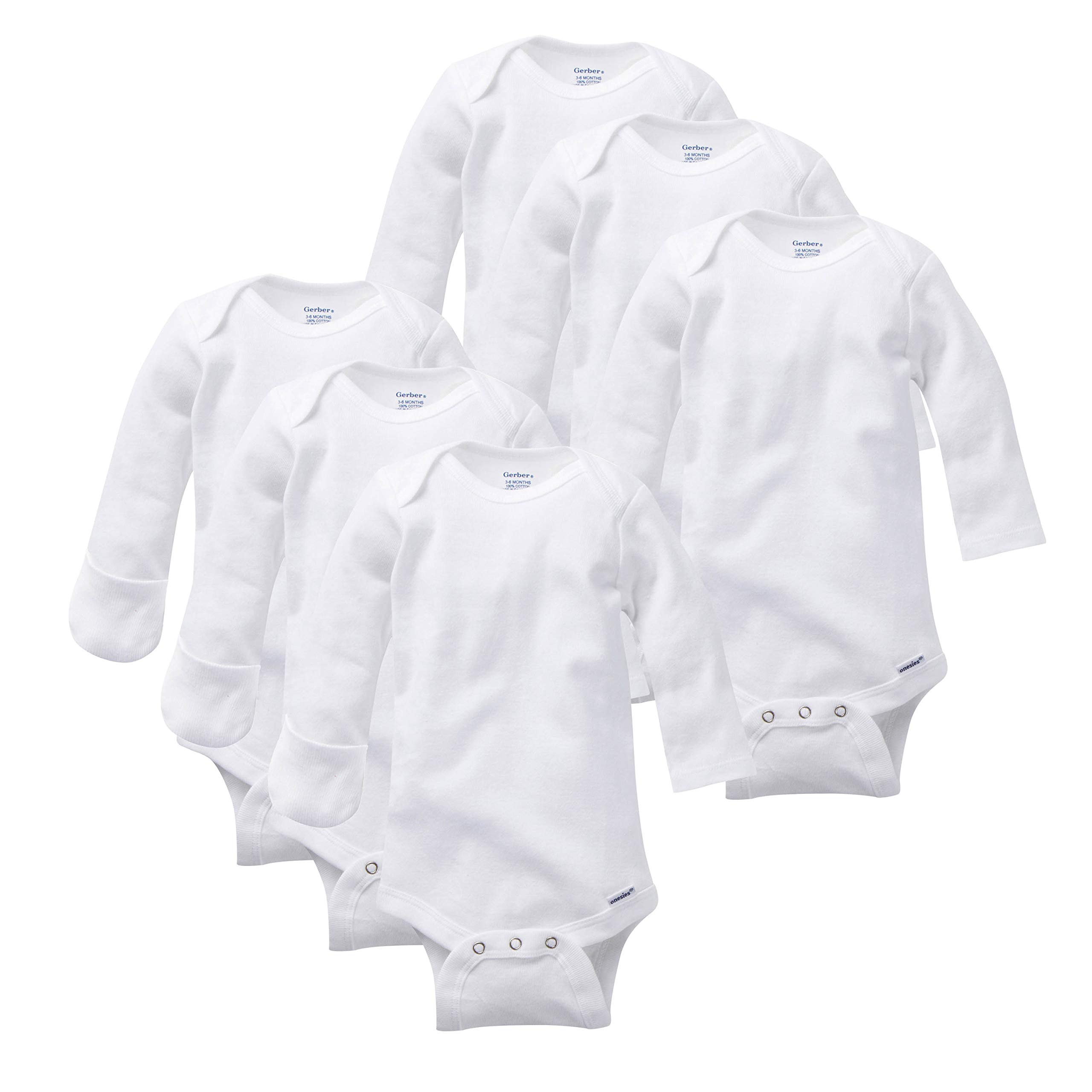 Gerber Baby Girls' 3-Pack Or 6-Pack Long-Sleeve Mitten-Cuff Onesies Bodysuit