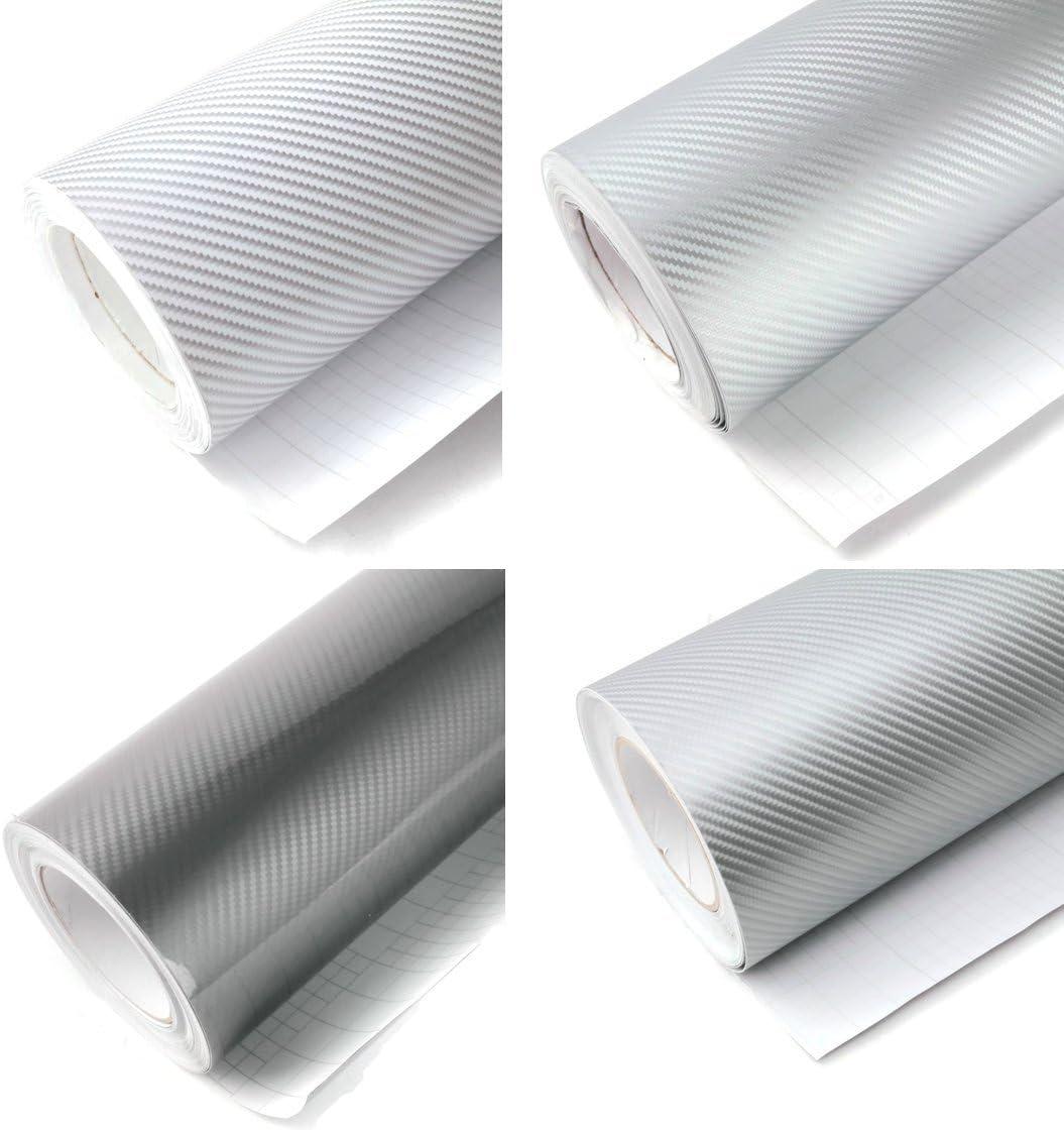 Película Vinilo Adhesivo Plotter carbono 2d 3d 4d 5d plata therformable adhesiva, multicolor: Amazon.es: Bricolaje y herramientas