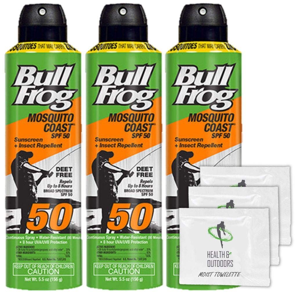 Bull Frog Pack of 3 Bullfrog Mosquito Coast Spray Sunscreen + Insect Repellent SPF 50 5.5 oz + H&O Towelettes