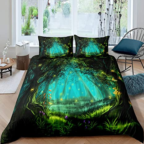 Decorative 3 Piece Bedding Set with 2 Pillow Shams Teal Lilac Little Pixie with Lantern Sitting Moon Stone Fairytale Myth Artwork Ambesonne Fantasy Duvet Cover Set King Size