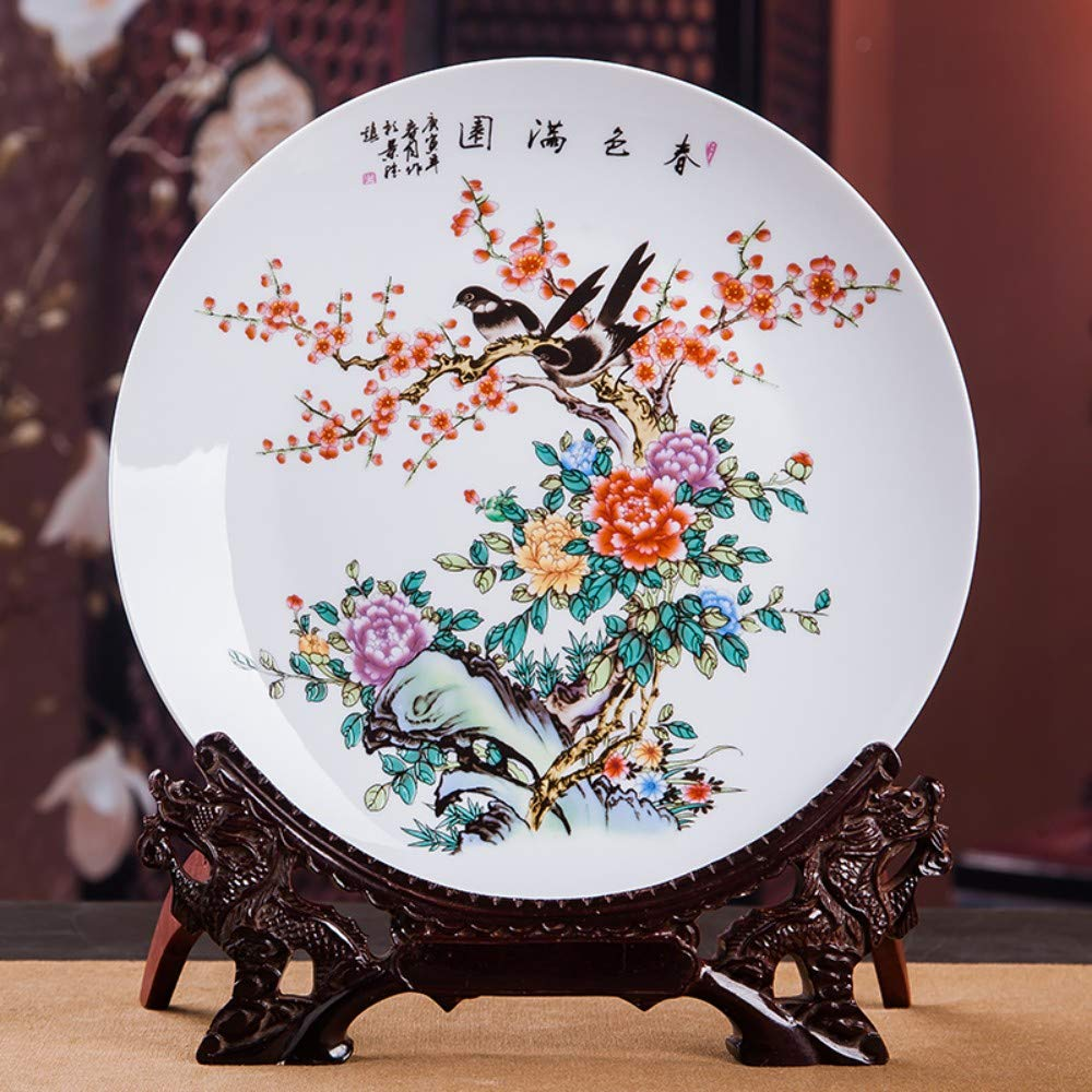 Decorative Plate with Dragon Shaped Stand,Hand Painted Colorful Birds and Flowers Chinese Handmade Ceramic Art Decoration Ornament Plates for Display Living Room Table Decor