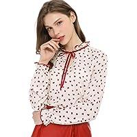 Allegra K Women's Tie Ruffled Neckline Polka Dots Vintage Blouse Bell Long Sleeves Tops