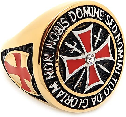 Ring Siegelring Templer Mann Vintage BOBIJOO Jewelry Rotes Kreuz Schwert Stahl Vergoldet Versilbert