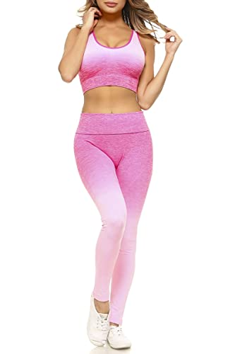 Women's Active Ombre Sports Bra and Leggings Performance Set (Light Pink, Small)
