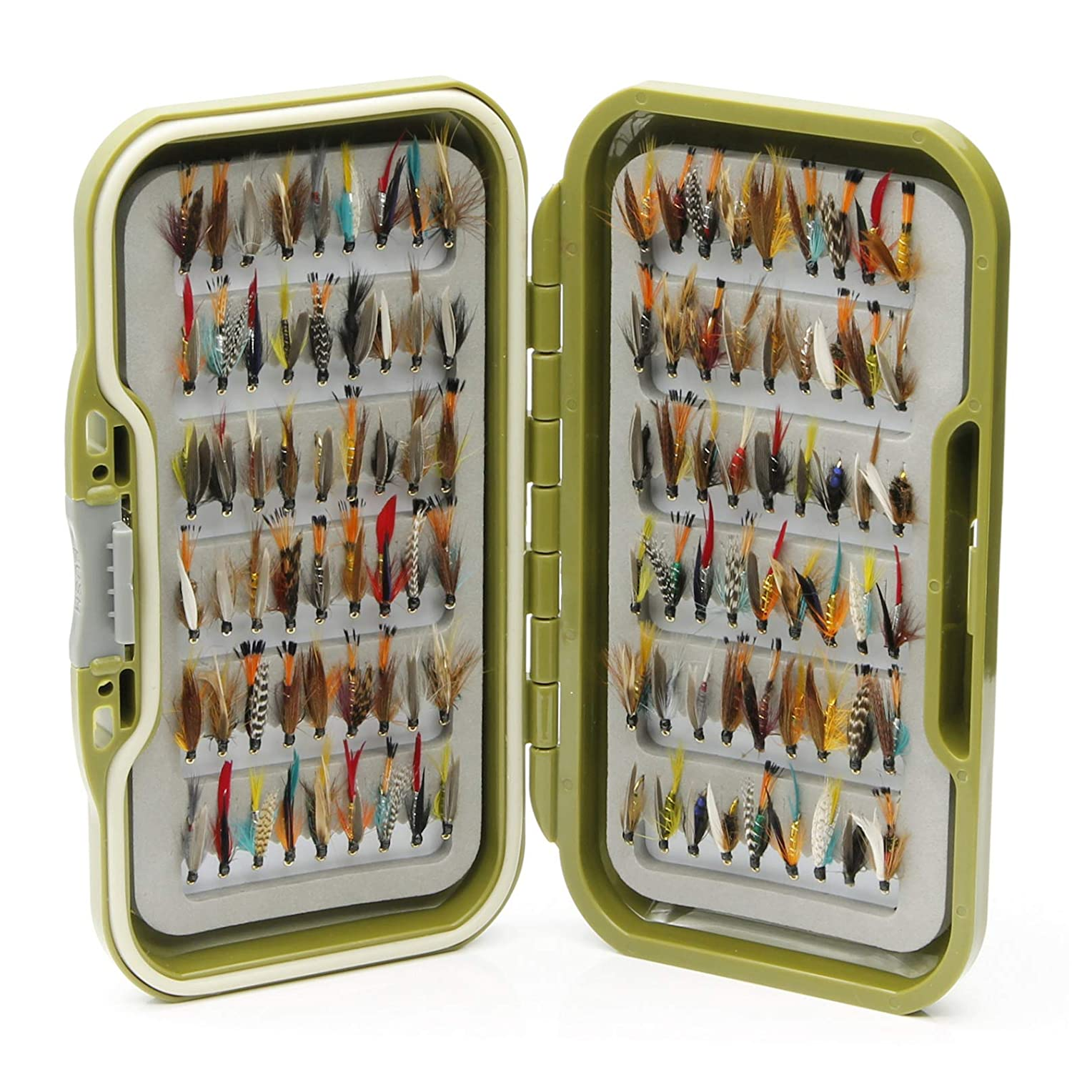 10 25 or 50 x Mixed Winged Wet Flies for Trout Fly Fishing Waterproof Fly Box