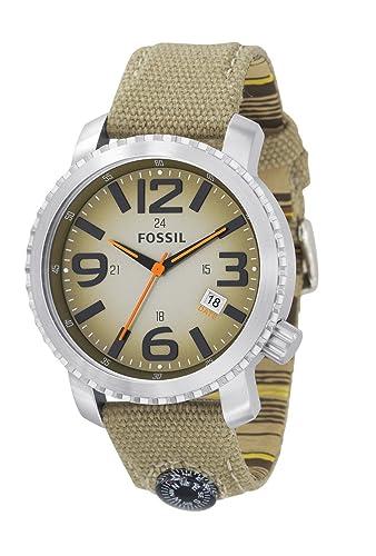 Fossil jr1139 Gents correa de lona Beige con brújula y color beige Dial reloj: Fossil: Amazon.es: Relojes