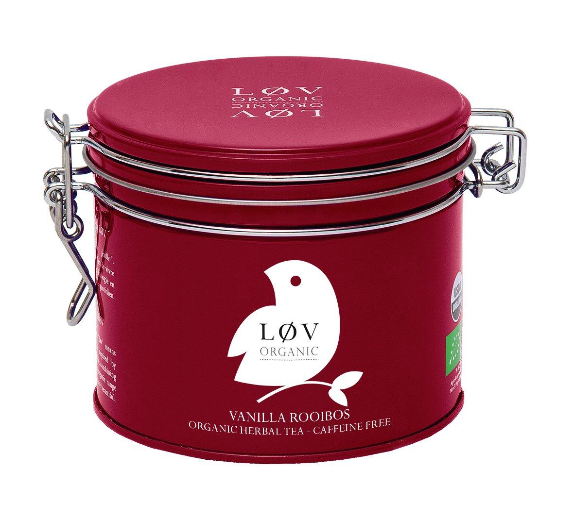 Løv Organic Vanilla Rooibos Tea - Rooibos and Vanilla Organic Blend Calming Caffeine Free Herbal Tea (3.5oz Loose Tea Tin - 40 Servings)