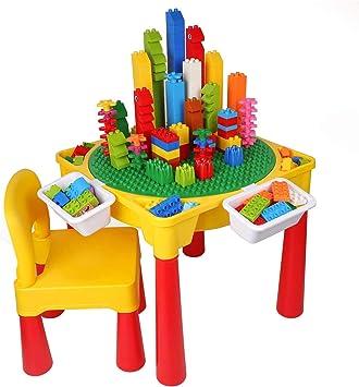 burgkidz Mesa de Actividades para Niños 5 En 1, Bloques de Construcción / Jugando Agua y Arena / Elaboración / Comedor / Almacenamiento de Juguetes, 128 Piezas de Ladrillos Creativos Incluidos: Amazon.es: Juguetes y juegos
