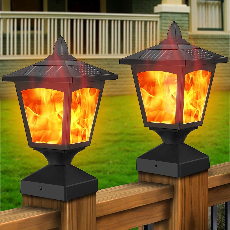 Solar Post Lights,Outdoor Fence Post Cap Flame Lights,4x4 Deck Post Top LED Lights,Waterproof Decorative Garden Solar Powered Flickering Flame Effect Lights for Yard Garden Patio Decoration 2Pack
