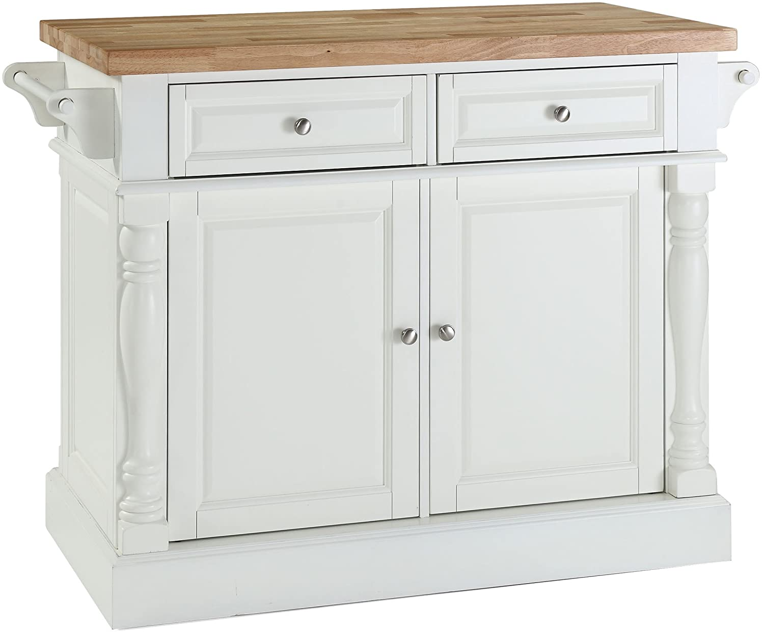 Crosley Furniture Kitchen Island with Butcher Block Top - White