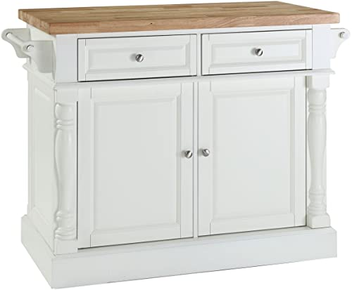 Crosley Furniture Kitchen Island with Butcher Block Top – White