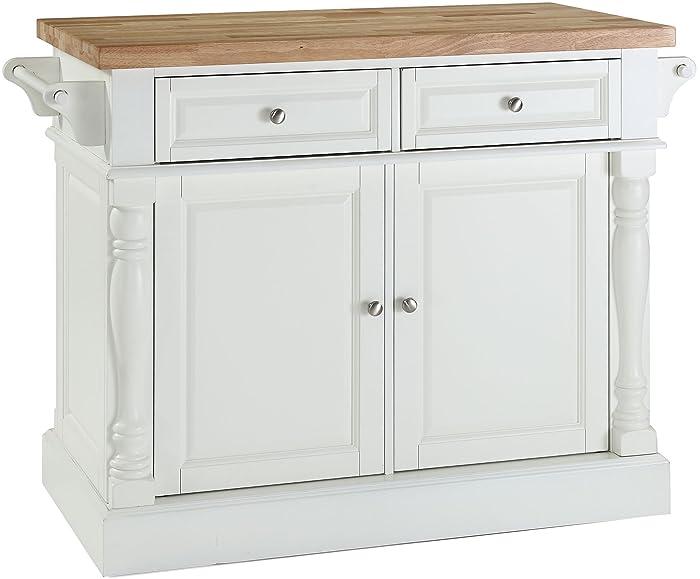Crosley Furniture Kitchen Island with Butcher Block Top - White