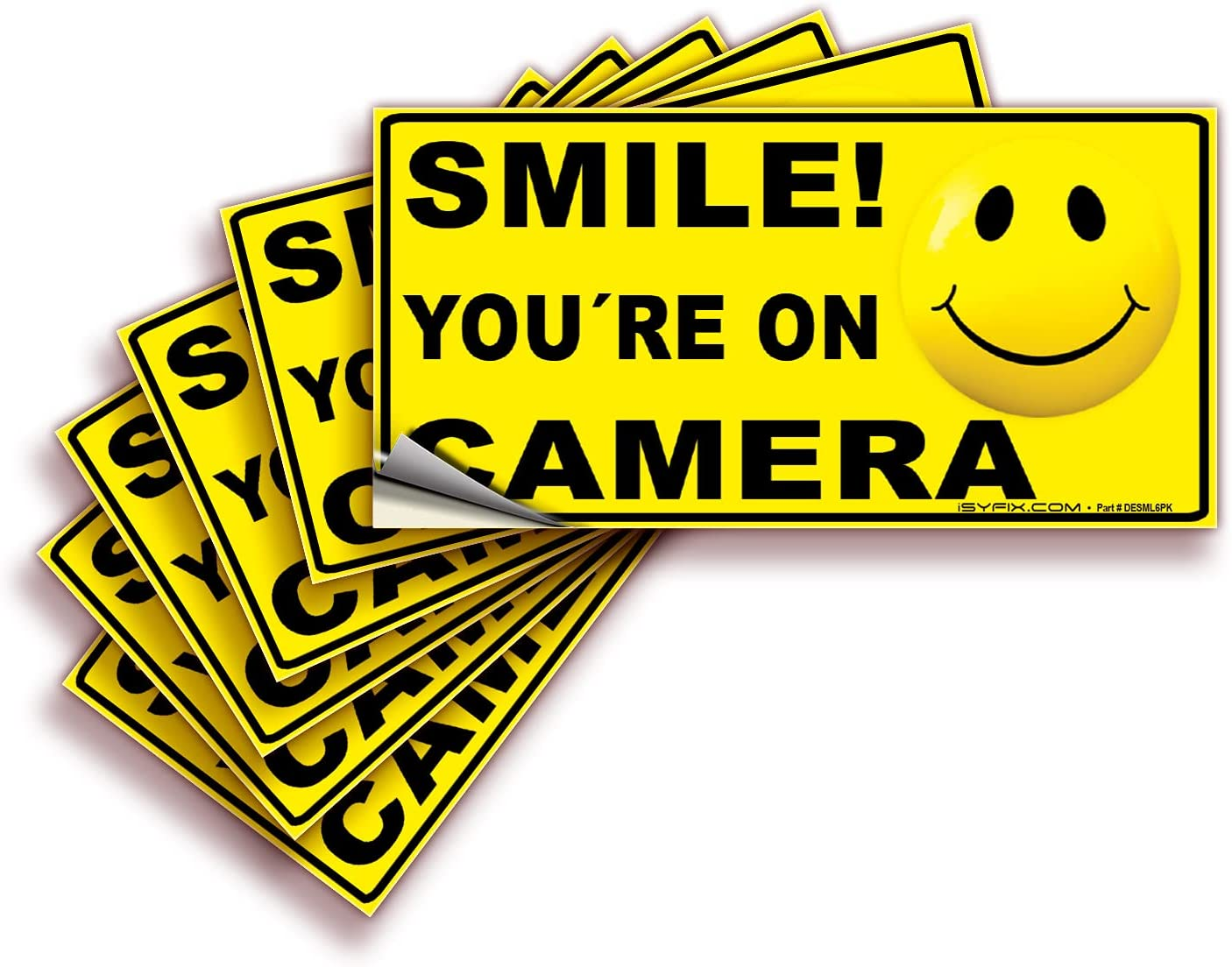 Smile Purchase You're On Camera Signs Stickers famous Premiu 4x2 6 Inch Pack –
