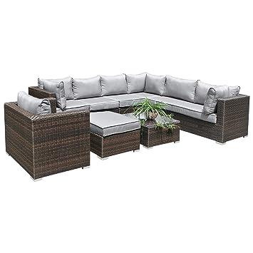 Hansson Polyrattan Lounge Sitzgruppe Gartenmöbel Garnitur Poly Rattan 3 Bis  7 Sitzplätze Plus Hocker (7
