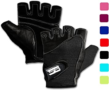 WEIGHT LIFTING TRAINING REAL LEATHER SPANDEX FITNESS CYCLING WHEELCHAIR GLOVES