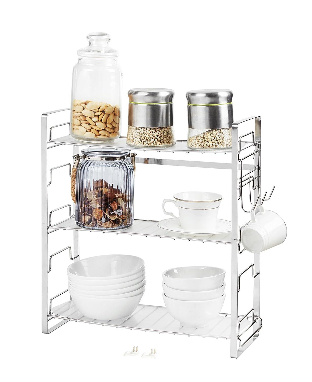 NEUN WELTEN Scaffale porta spezie a 3 piani con 3 Foglio di plastica PETG 39 × 18 × 42 (3 ripiani liberi di assemblare, Nero) NW030