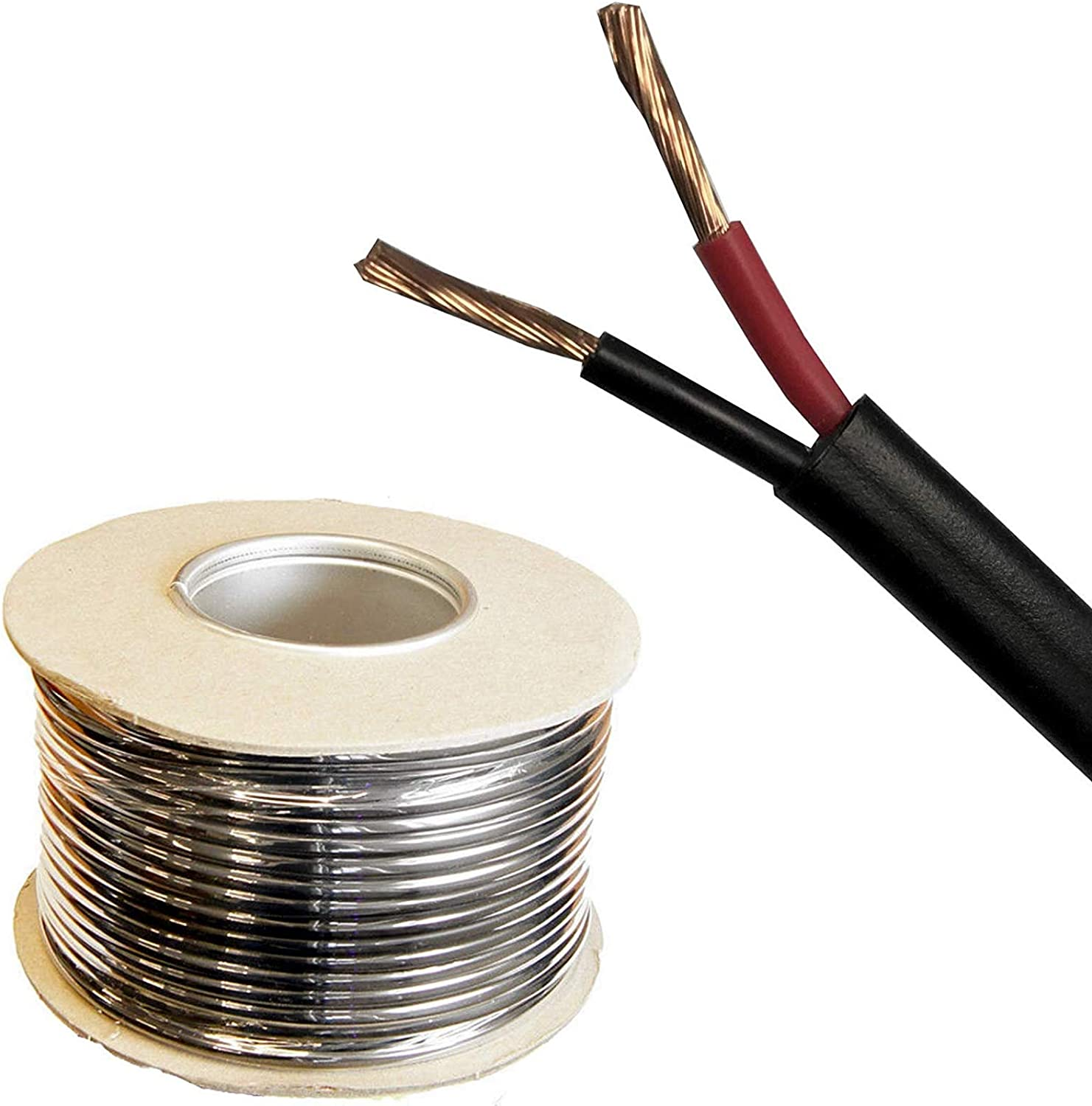30M METRE ROLL//REEL BLACK//RED TWIN CORE FLAT CABLE//WIRE 2 X 16 STRAND 11A AMP