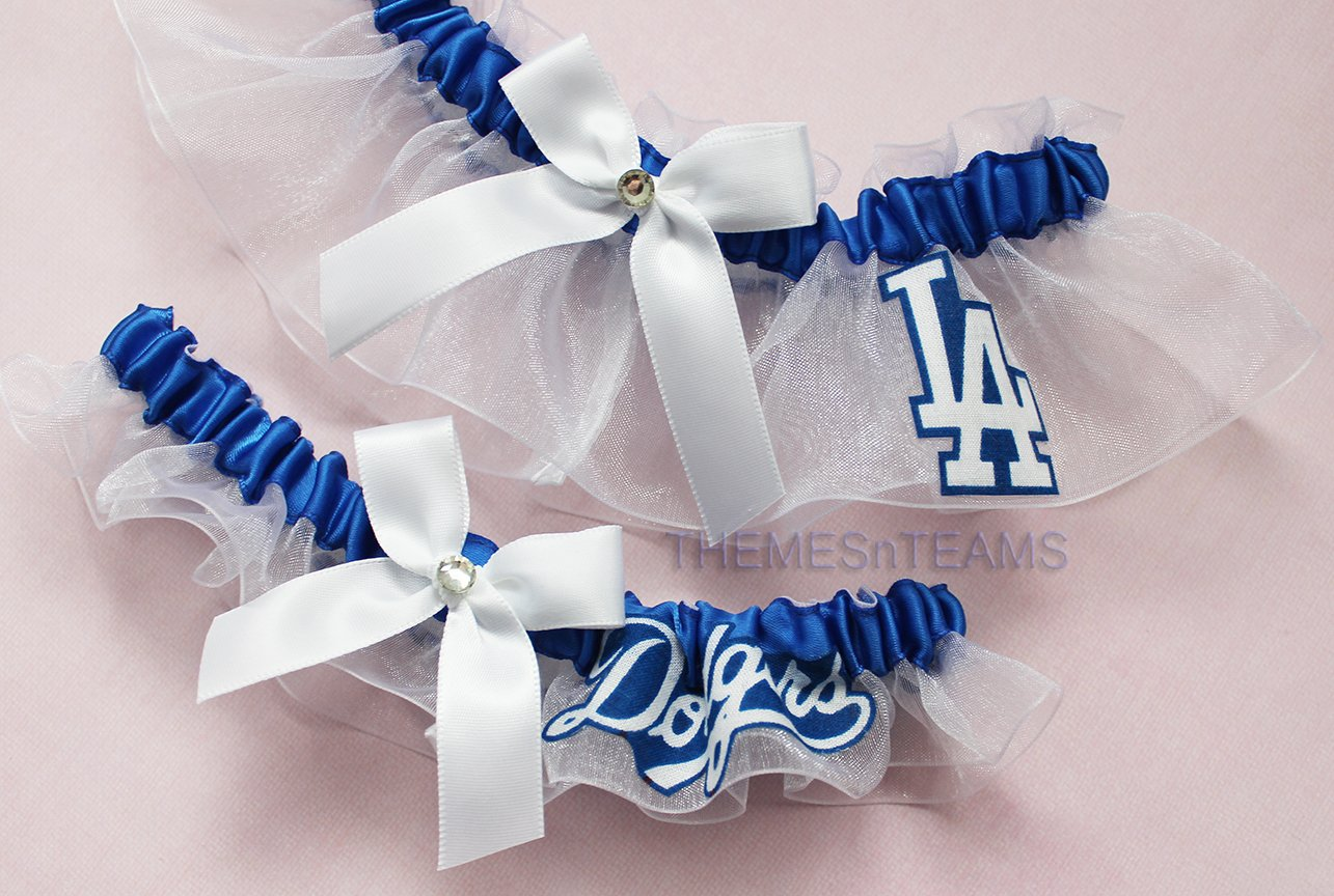Customizable - LA Los Angeles Dodgers fabric handmade into bridal prom white organza wedding garter set tnt