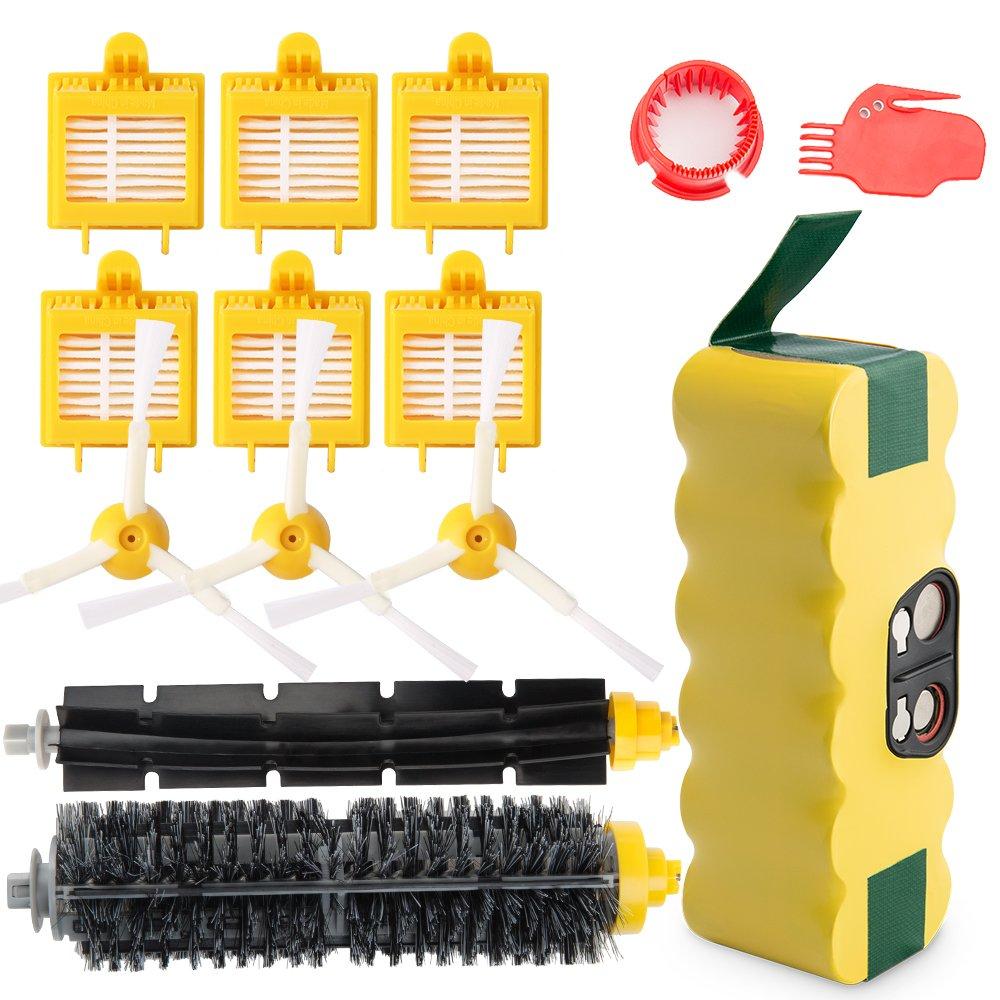 efluky 3.5Ah batería de Repuesto para irobot roomba + Kit cepillos repuestos de Accesorios para iRobot Roomba Serie 700 720 750 760 770 772e 776 776p 780 ...
