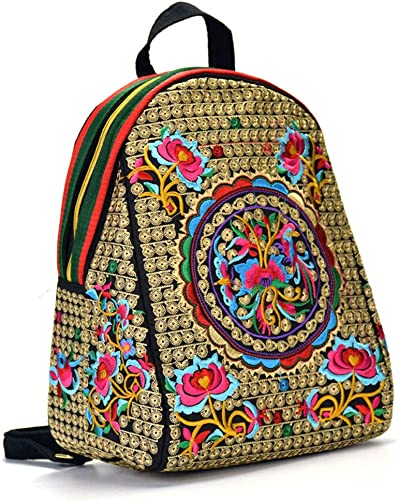 QWERDF Embroidered Women s Ethnic Backpack Casual Flower Daypack Anti-Theft Flap Girls Travel Shoulder Bag Hippie Mexican,B